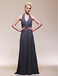 Sheath / Column V-neck Floor Length Chiffon Formal Evening Wedding Party Dress with Draping Ruching by TS Couture®