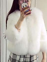 cheap -Women's Going out Street chic Winter Fur Coat,Solid V Neck Long Sleeve Short Faux Fur Fox Fur