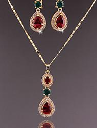 Недорогие -Мода женщин простой стиль кубического zirconia горный хрусталь серьги ожерелье для свадьбы свадьбы подарки