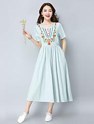 Недорогие -Жен. Богемный С летящей юбкой Платье - Однотонный, Вышивка Средней длины