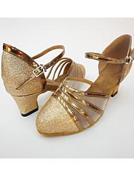 "cheap -Women's Salsa Net Leatherette Honeycomb Heel Indoor Splicing Chunky Heel Gold Black Silver 1"" - 1 3/4"""