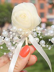 preiswerte -Hochzeitsblumen Knopflochblumen Hochzeit Tüll Perlen 6 cm ca.