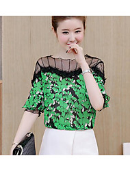 cheap -Women's Daily Going out Casual Summer Blouse,Floral Round Neck Short Sleeves Acrylic Polyester Medium