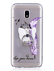 For Case Cover Ring Holder Transparent Pattern Back Cover Case Feathers Soft TPU for Samsung Galaxy J7 (2016) J7 (2017) J5 (2016) J5