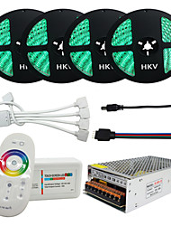 1Set HKV® 20M(4x5m) RGB LED Strip 5050 Waterproof 1200Led 20A Transformer Light Flexible Tape Remote Controller Power No batteries included