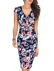 cheap -Women's Daily Going out Vintage Sexy Boho Bodycon Dress,Floral Deep V Knee-length Short Sleeves Polyester Summer Fall High Rise