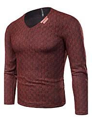 preiswerte -Herren Standard Pullover-Lässig/Alltäglich Übergröße Einfach Solide Hahnentrittmuster V-Ausschnitt Langarm Baumwolle Frühling Herbst