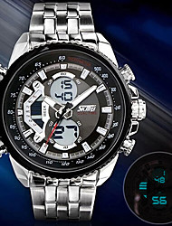 preiswerte -SKMEI Herrn digital Armbanduhr Armbanduhren für den Alltag Edelstahl Band Charme Kleideruhr Modisch Silber