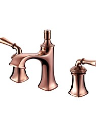 cheap -Luxury Classical Widespread High Quality Brass Valve Two Handles Three Holes Rose Gold , Bathroom Sink Faucet