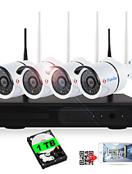 YanSe® Built-in 1TB HDD 4CH Wireless NVR Kits 720P Waterproof IR Night Vision Security WIFI IP Camera 36LEDs Surveillance CCTV System Home