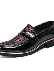 preiswerte -Herren Schuhe Leder Herbst Winter formale Schuhe Loafers & Slip-Ons Paillette Schnürsenkel Für Normal Party & Festivität Rot Schwarz/weiss