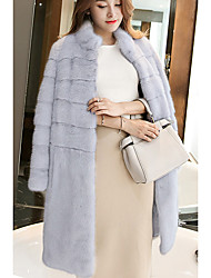 cheap -Women's Daily Going out Simple Casual Street chic Winter Fur Coat,Solid Stand Long Faux Fur Raccoon Fur Lamb Fur