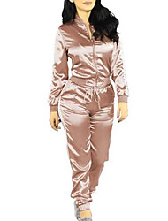 cheap -Women's Daily Going out Casual Sexy Solid Round Neck Pant Regular Winter Fall