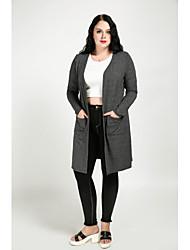 preiswerte -Damen Solide Retro Niedlich Alltag Übergrössen Standard Trench Coat, V-Ausschnitt Herbst Baumwolle Polyester überdimensional