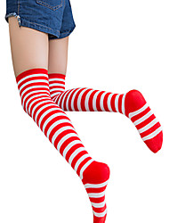 cheap -Socks / Long Stockings Sweet Lolita Dress Sexy Lolita Unisex Black/Red Pink Blue Green Yellow Lolita Accessories Striped Socks Cotton