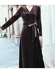 Gaine Robe Femme Soirée Décontracté / Quotidien Couleur Pleine Col en V Maxi Manches Longues Cachemire Coton Automne Hiver Taille Haute