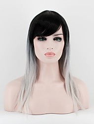 Women Synthetic Wig Capless Medium Length Straight Black/White Ombre Hair Natural Wigs Costume Wig