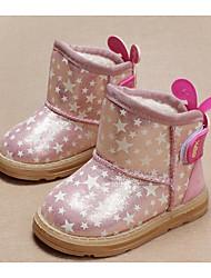 baratos -Para Meninas sapatos Couro Ecológico Outono Inverno Botas de Neve Botas para Casual Dourado Rosa claro