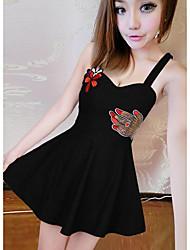 preiswerte -Damen A-Linie Kleid-Lässig/Alltäglich Druck Gurt Mini Ärmellos Andere Sommer Mittlere Hüfthöhe Unelastisch Undurchsichtig