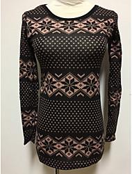 preiswerte -Damen Standard Pullover-Lässig/Alltäglich Gestreift Rundhalsausschnitt Langarm Baumwolle Herbst Mittel Mikro-elastisch