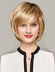 Women Human Hair Capless Wigs Strawberry Blonde/Bleach Blonde Yellow Black Medium Length Straight Ombre Hair Dark Roots