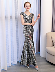 Mermaid / Trumpet V-neck Ankle Length Sequined Formal Evening Dress with Sequins by Embroidered Bridal
