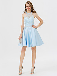 cheap -A-Line Jewel Neck Knee Length Satin Cocktail Party Dress with Beading Crystal Detailing Pocket by TS Couture®