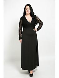 abordables -Femme Grandes Tailles Mignon Trapèze Robe - Dentelle, Mosaïque Col en V Maxi