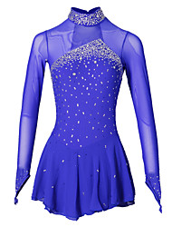 Figure Skating Dress Women's Girls' Ice Skating Dress Aquamarine Spandex Elastane Jeweled Rhinestone Performance Handmade Long Sleeves