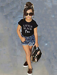 Недорогие -Девочки Наборы Хлопок Однотонный Лето С короткими рукавами Набор одежды