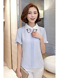 cheap -Women's Blouse - Color Block Embroidery Shirt Collar
