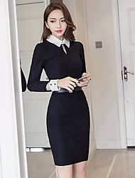 cheap -Women's Club Sexy Bodycon Dress,Solid Shirt Collar Above Knee Long Sleeves Silk Winter High Rise Micro-elastic Thick