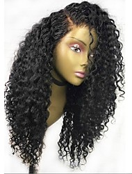 cheap -Women Human Hair Lace Wig Burmese Human Hair Glueless Lace Front 150% Density With Baby Hair Curly Wig Black Long Natural Hairline