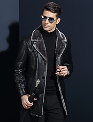 Men's Casual/Daily Chinoiserie Winter Leather Jacket,Solid Shawl Lapel Long Sleeve Regular Lamb Fur