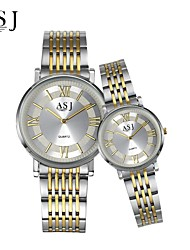 cheap -ASJ Couple's Dress Watch Fashion Watch Japanese Quartz Stainless Steel Band Elegant Silver
