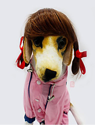 abordables -Gato Perro Navidad Pelucas Ropa para Perro Fiesta vaquero Halloween Sólido Dorado Marrón Disfraz Para mascotas