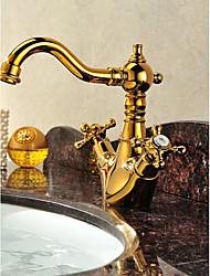 Lusso Installazione centrale Alta qualità with  Valvola in ottone Due manopole Un foro for  Ti-PVD , Lavandino rubinetto del bagno