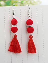 baratos -Mulheres Borla Gema Brincos Compridos - Borla Fashion Preto Cinzento Vermelho Azul Bola Brincos Para Festa Casual