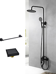 cheap -Modern/Contemporary Special Design Tub And Shower Handshower Included Wall Mount Ceramic Valve Two Holes Black , Shower Faucet