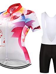 Maglia con salopette corta da ciclismo Per donna Manica corta Bicicletta Set di vestiti Design anatomico Fantasia geometrica Autunno