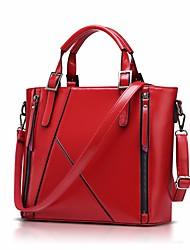 preiswerte -Damen Taschen Kuhfell Tragetasche Reißverschluss für Normal Ganzjährig Blau Schwarz Rote