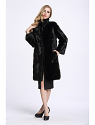 Women's Daily Sophisticated Winter Fur Coat,Solid Stand Long Fox Fur