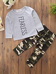Недорогие -Мальчики Набор одежды Хлопок Полиэстер камуфляж Весна Осень Длинный рукав Мультяшная тематика Нарядная одежда Серый