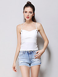 cheap -Women's Daily Going out Cute Casual Summer Tank Top,Solid Strap Sleeveless Cotton Thin