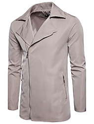 Men's Daily Club Plus Size Simple Vintage Casual Winter Fall Jacket,Solid Peter Pan Collar Long Sleeve Regular Nylon
