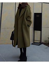 preiswerte -Damen Solide Einfach Freizeit Ausgehen Lang Mantel,Peter Pan-Kragen Winter Herbst Baumwolle Acryl Polyester