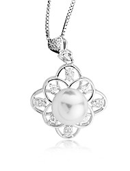 Femme Pendentif de collier Perle Forme Ronde Formé Carrée Perle Argent sterling Imitation de perle Perle d'or Simple Style Elegant Bijoux