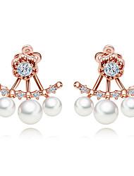 Women's Hoop Earrings Synthetic Diamond Hypoallergenic Multi-ways Wear Imitation Pearl Zircon Jewelry For Daily Work