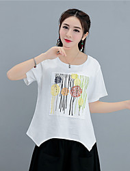Women's Casual/Daily Simple T-shirt,Print Embroidery Round Neck Short Sleeves Linen