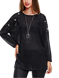 cheap -Women's Daily Going out Casual Sexy Summer Fall T-shirt,Solid Round Neck Long Sleeves Polyester Medium
